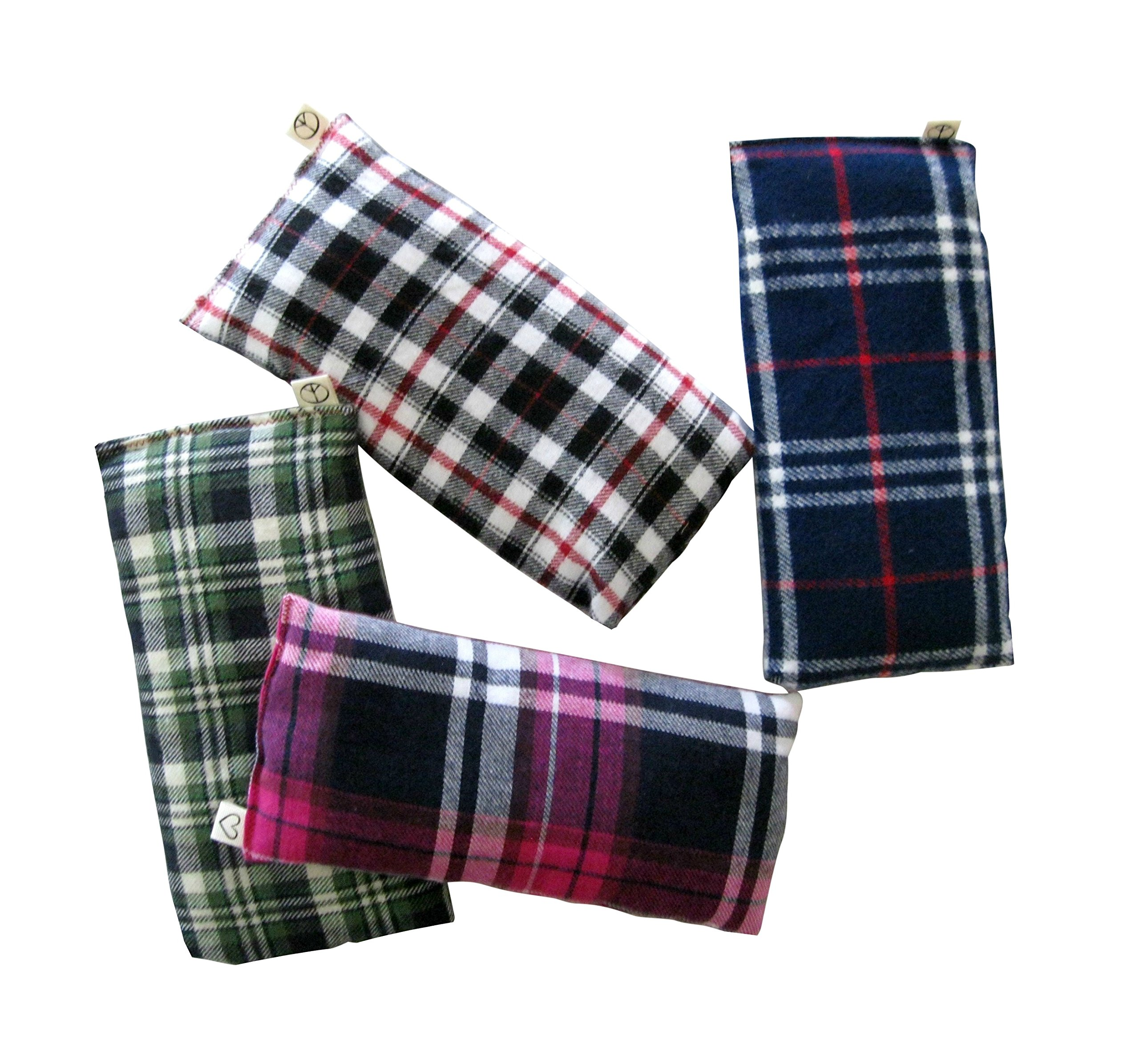 Scented Eye Pillows - Pack of (4) - Soft Cotton Flannel 4 x 8.5 - Organic Lavender Flax Seed - Plaid - red blue green yellow