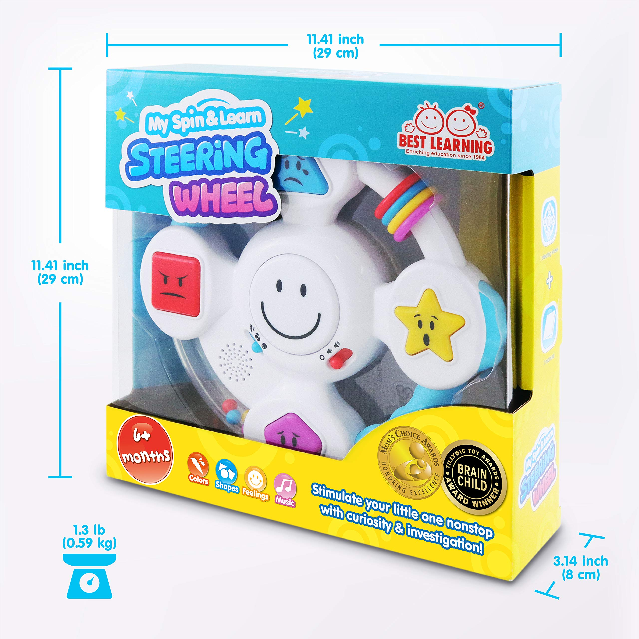 BEST LEARNING My Spin & Learn Steering Wheel - Interactive Educational Light-Up Toddler Toys for 6-36 Months Old Infants & Toddlers - Colors, Shapes, Emotions & Music Game for Babies by BEST LEARNING (Image #7)