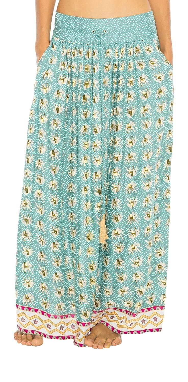 Back From Bali Womens Long Summer Maxi Skirt Elephant Tassel Elastic Waist