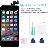 Screen Replacement for iPhone 5 [Black] - P-zone LCD Touch Display Digitizer Include Home Button Full Pre-assembly Kit with Repair Tools and Screen Protector