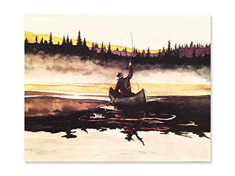 Fly Fishing Watercolor Painting Print Wall Décor Office, Home, Kitchen,  Cabin By BrushTones