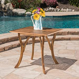 Christopher Knight Home 298193 Baia Square Acacia Wood Table, Natural