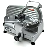 "KWS Premium 200w Electric Meat Slicer 6"" Frozen Meat Deli Slicer Coffee Shop/restaurant and Home Use Low Noises (Silver)"