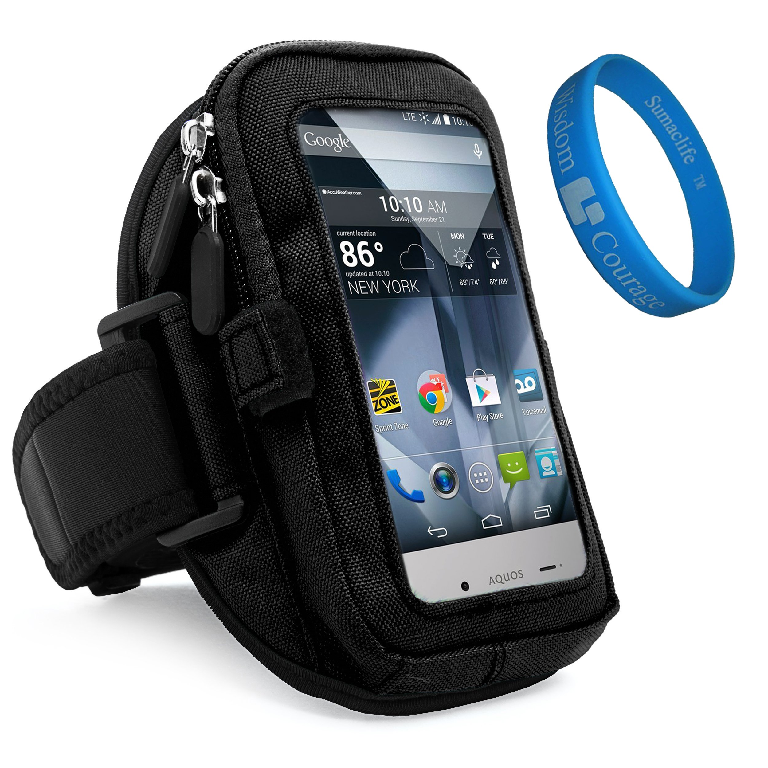 Universal Zippered Sport Gym Running Jogging Exercise Armband w/card & key slot for Sharp Aquos Crystal/X Fit 5'' to 5.5 inch Google Android Smart Phone + SumacLife Wisdom Courage Wristband (Black)