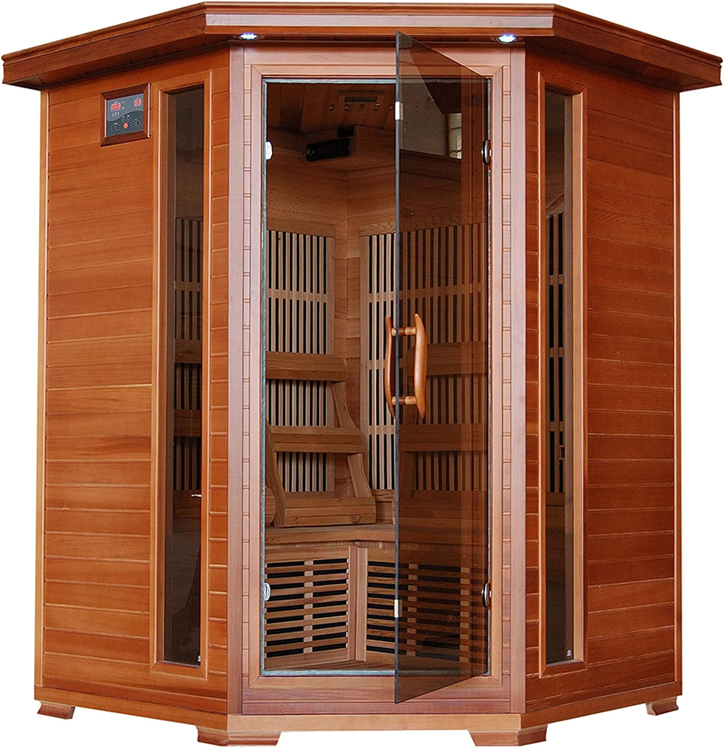 Radiant Saunas BSA1312 3-Person Cedar Corner Infrared Sauna w 7 Carbon Heaters