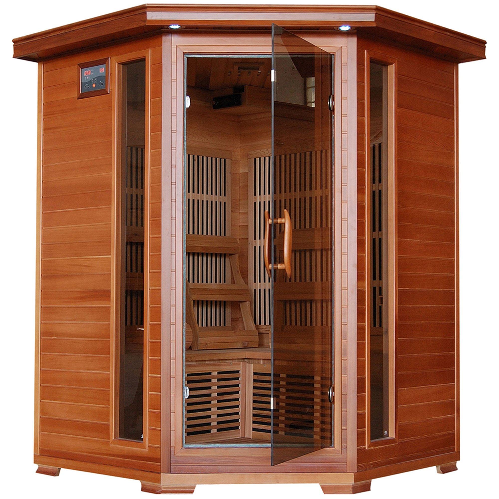 3-Person Cedar Corner Infrared Sauna w/ 7 Carbon Heaters