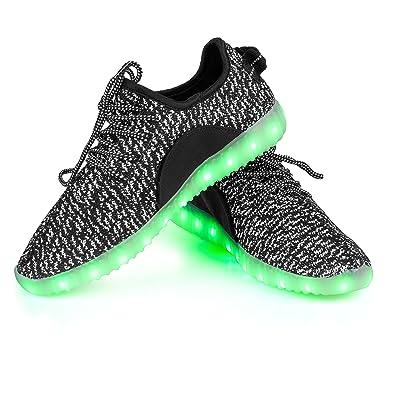 Shinmax LED Schuhe, Leuchtende Sneakers Unisex 7 Farbe USB Aufladen Leutchtschuhe Sport LED Kinderschuhe für Unisex Erwachsene Herren Damen und Jungen