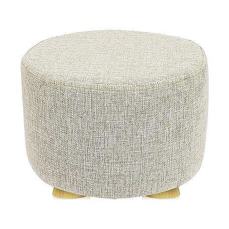 Fabulous Met Life Round Ottoman Foot Stool 4 Leg Stands Short Leg Round Shape Linen Fabric Beige Cover Machost Co Dining Chair Design Ideas Machostcouk