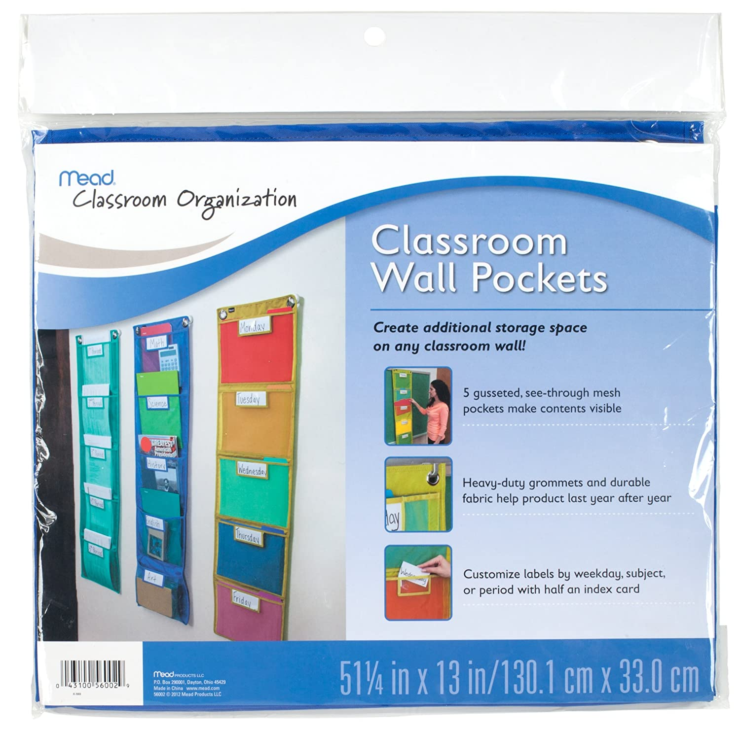 amazoncom mead classroom wall pockets green teachers calendars and planners office products