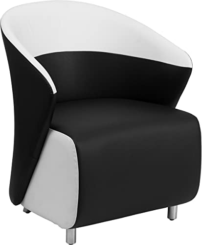 Flash Furniture Black Leather Curved Barrel Back Lounge Chair