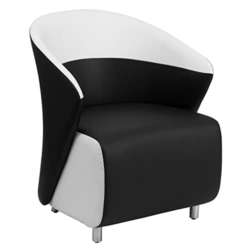 Flash Furniture Black Leather Curved Barrel Back Lounge Chair with Melrose White Detailing