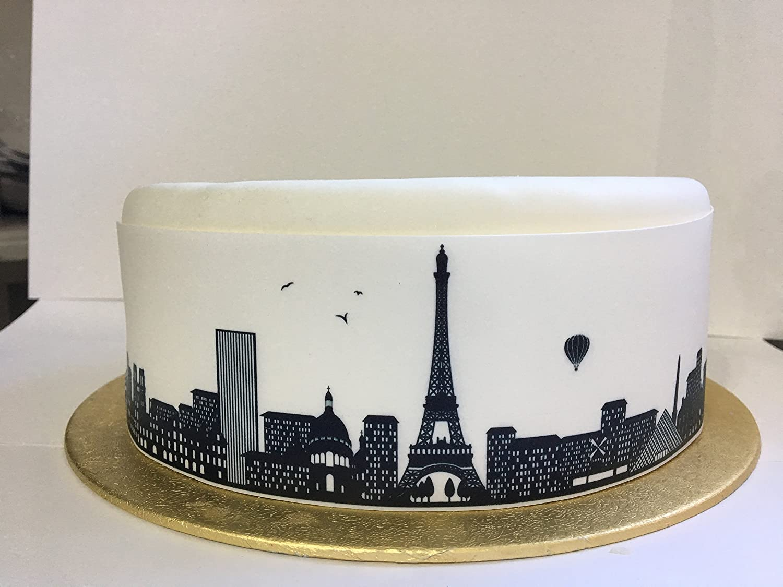 Remarkable Edible Decor Sheet Paris City Skyline Border Ribbon Perfect For Funny Birthday Cards Online Alyptdamsfinfo