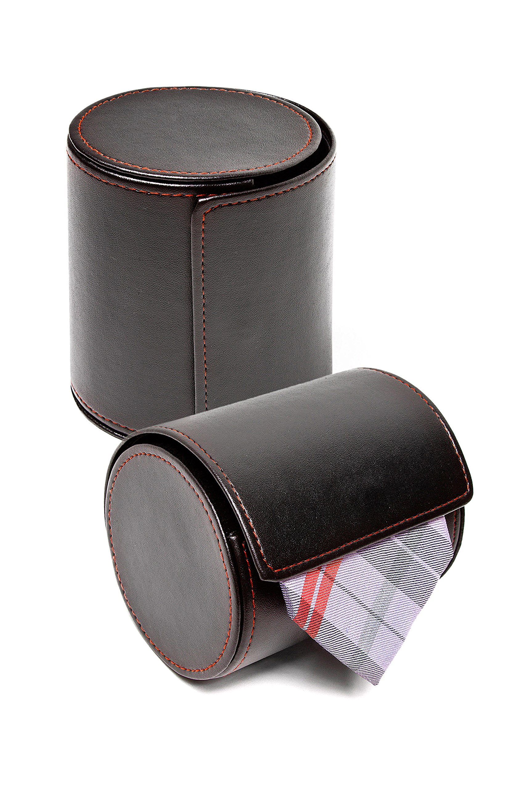 Black Tie Travel Case Roll - Perfect Business Gift - Vegan Faux Leather Necktie Anti-Wrinkle Storage Case