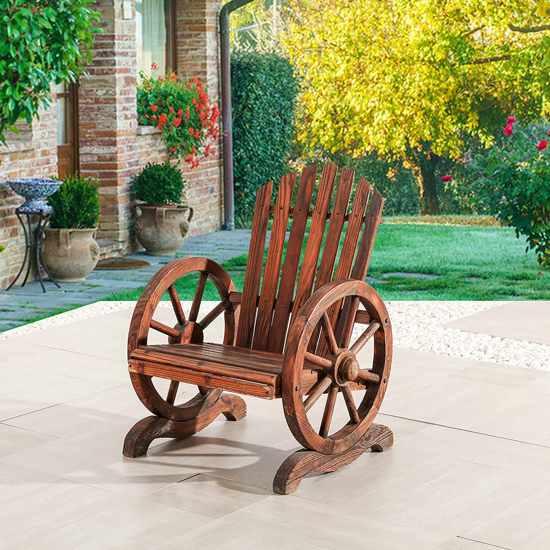 Rustic Garden Table Outdoor Vintage Patio Dinner Yard Backyard Cart Wheels New