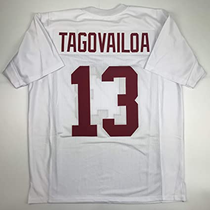 cd45f5b33 Image Unavailable. Image not available for. Color  Unsigned Tua Tagovailoa  Alabama White College Custom Stitched Football Jersey Size Men s XL New ...