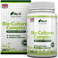 Bio-Cultures 180 Capsules (6 Month Supply), Vegetarian Multi Strain, High Strength Cultures Includes Lactobacillus Acidophilus & Bifidobacterium, Capsules not Tablets by Nu U Nutrition