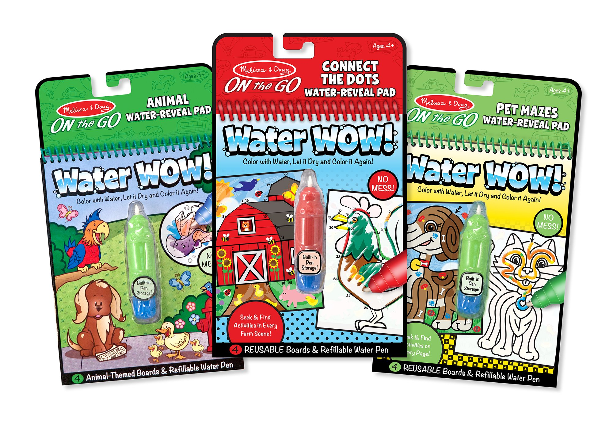 Melissa & Doug On the Go Water Wow! Activity Pad 3-Pack, Animals, Farm, Pet Mazes (Reusable Water Reveal Coloring Books) by Melissa & Doug
