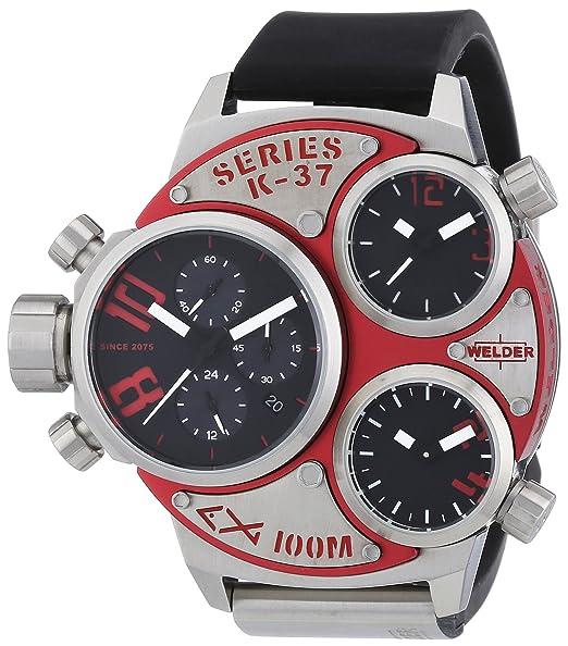 Welder K37 6500 - Reloj cronógrafo de cuarzo unisex con correa de caucho, color negro
