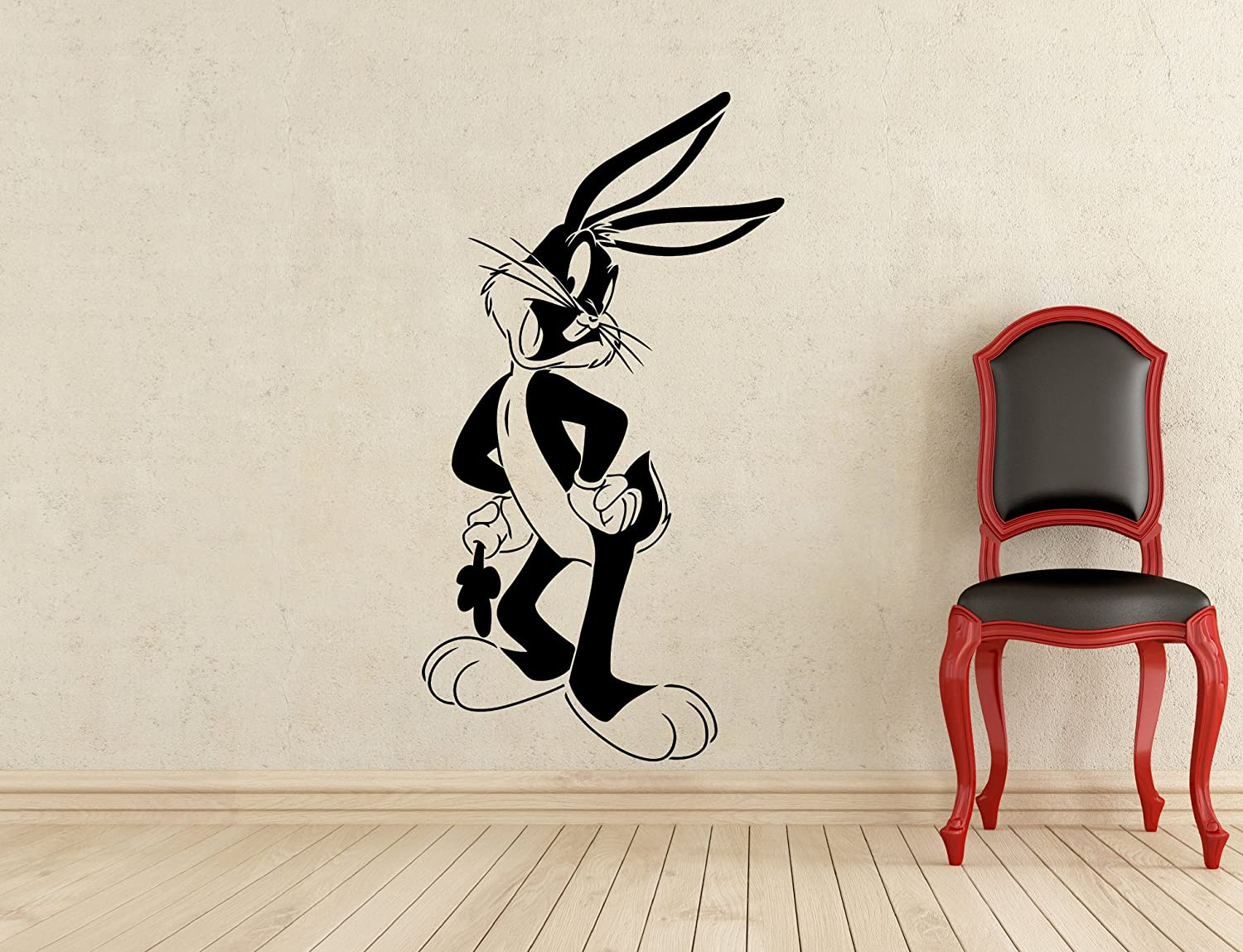 Bugs Bunny Wall Decal Looney Tunes Kids Cartoon Vinyl Sticker Nursery Room Interior Decoration Home Kids Room Art Design Removable Waterproof Mural (416z)