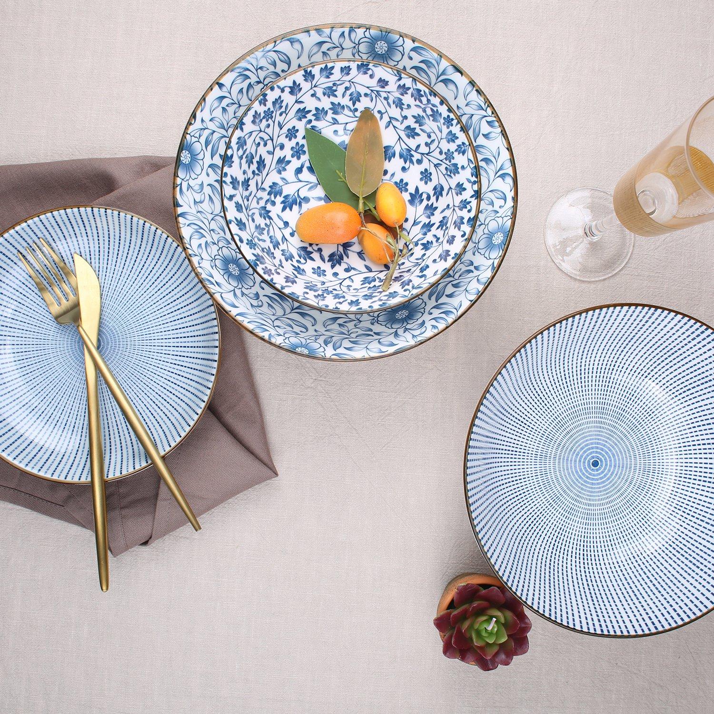 40-Ounce Porcelain Soup,Salad,Pasta Serving Bowls, Assorted Floral Patterns, Stackable Deep Bowl Set of 4 by YALONG (Image #7)