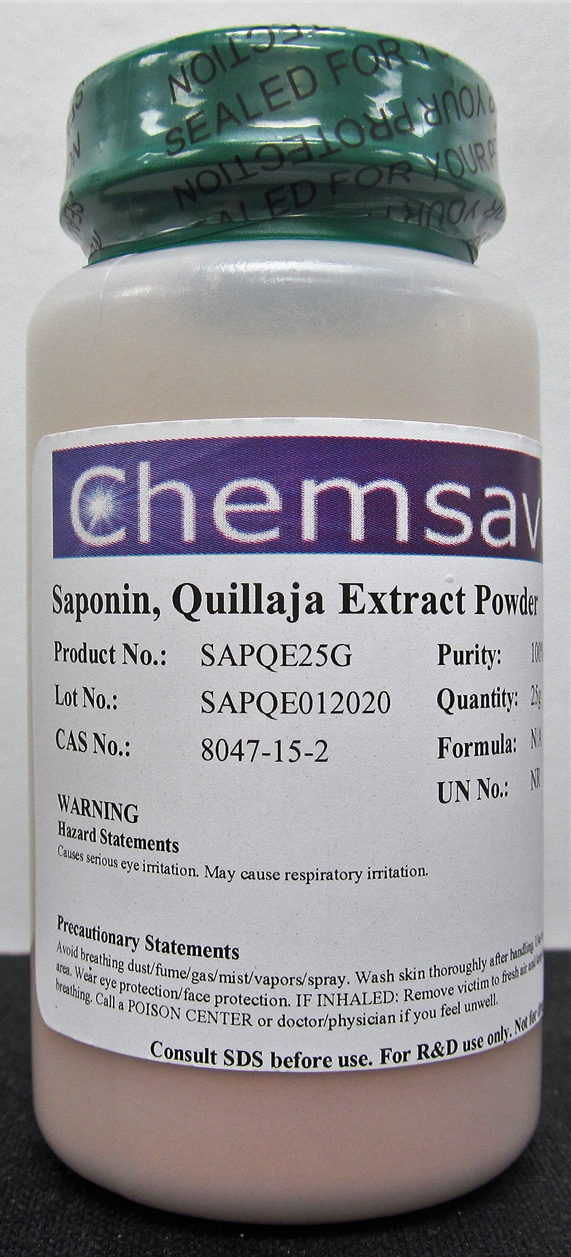 Saponin, Quillaja Extract Powder, 100%, 25g