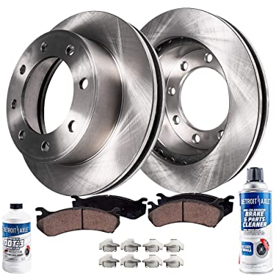 Detroit Axle - Pair (2) Rear Disc Brake Kit Rotors w/Ceramic Pads w/Hardware & Brake Kit Cleaner & Fluid for 2003 2004 2005 2006 2007 2008 Dodge Ram 2500 3500 SRW DRW - [2006-2008 Ram 1500 Mega Cab]: Automotive