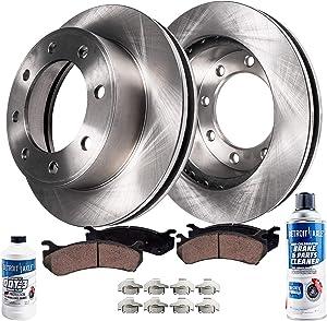 Detroit Axle - Pair (2) Front Disc Brake Kit Rotors w/Ceramic Pads w/Hardware & Brake Kit Cleaner & Fluid for Chevy GMC Avalanche Sliverado Express Savana Sierra 2500 3500 HD 4500
