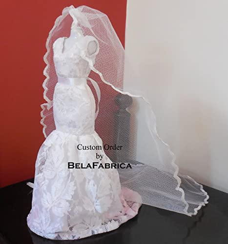 Lace Wedding Dress Replica Miniature Custom Doll Dollhouse Gift For Mom Mothers Day Mothersday