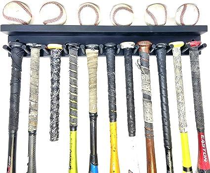 MWCSPORTS Baseball Bat Rack Holds 11 Full Size Bats 6 Balls Display Red Awards Trophy Baseball Bat Rack Shelf Holder Wall Mount