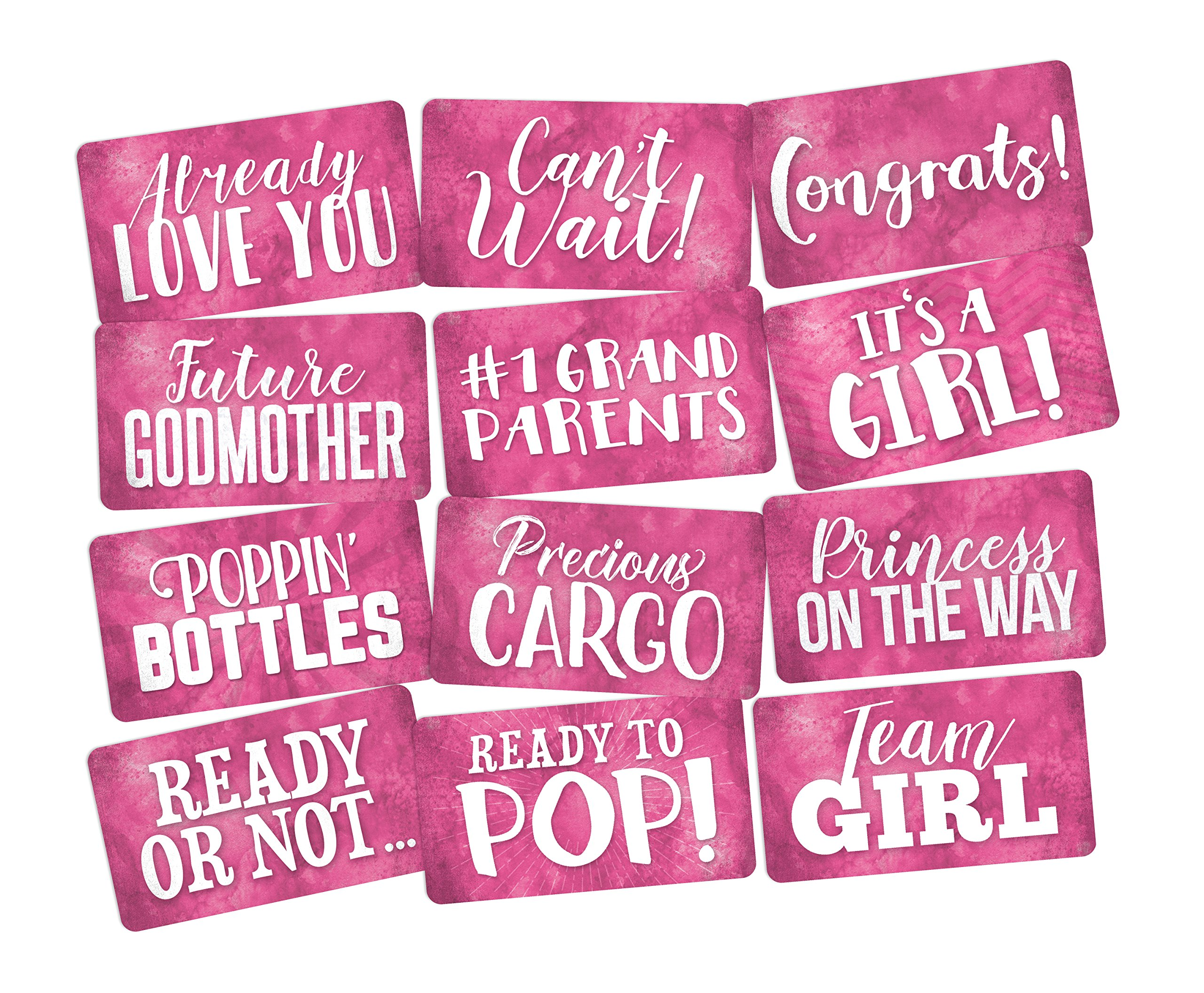 Photo Booth Props Set It's a Girl Perfect for Pink Baby Shower 6pc Double Sided by King Props LLC