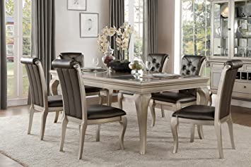 Amazon.com - French Modern 7 Piece Dining Set with Glass ...
