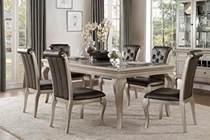 French Modern 7 Piece Dining Set With Glass Insert Top In Champagne Silver    Table U0026