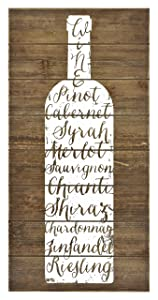 "MCS Bar None Wood Plank Wine Varietal Wall Art, 10""x20"", Brown"