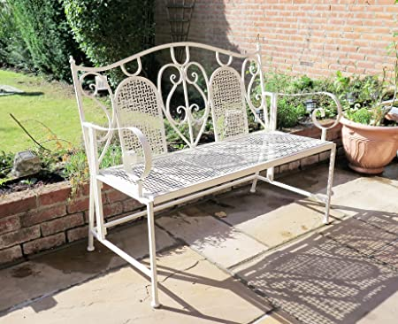 ASPECT Loredo Antique French Style Folding Garden Bench, Metal, Distressed  Cream