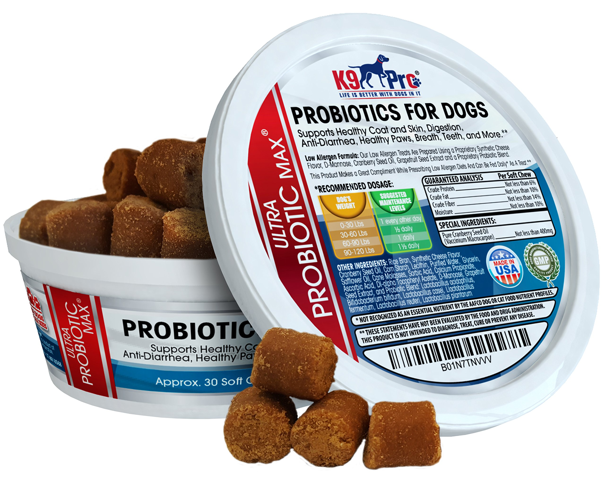 Probiotics For Dogs 7 Billion CFU & 6 Strains Per Tasty Chewable Probiotic For Upset Stomach Dog Diarrhea Yeast Gas UTI Bad Breath Skin Itching Hot Spots Allergies and coprophagia treatment for dogs