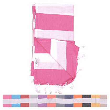 5ba1c8f0aa ... The Riviera Towel Company Biarritz Hot Pink Striped Turkish Towel for  Bath   Beach - Swimming ...