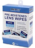 Premoistened Lens and Glass Cleaning Wipes - Portable Travel Cleaner for Glasses, Camera, Cell Phone, Smartphone, and Tablet - Disposable, Quick Drying, Streak Free - Individually Wrapped, Pack of 100