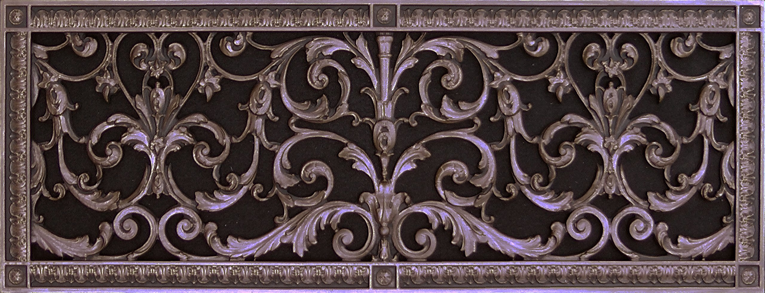 "Decorative Vent Cover, Grille, made of Urethane Resin in Louis XIV, French style fits over a 10""x 30"", Total size, 12"" by 32"", for wall & ceiling installation only. (not for floors) (Rubbed Bronze) by Beaux-Artes, Ltd."