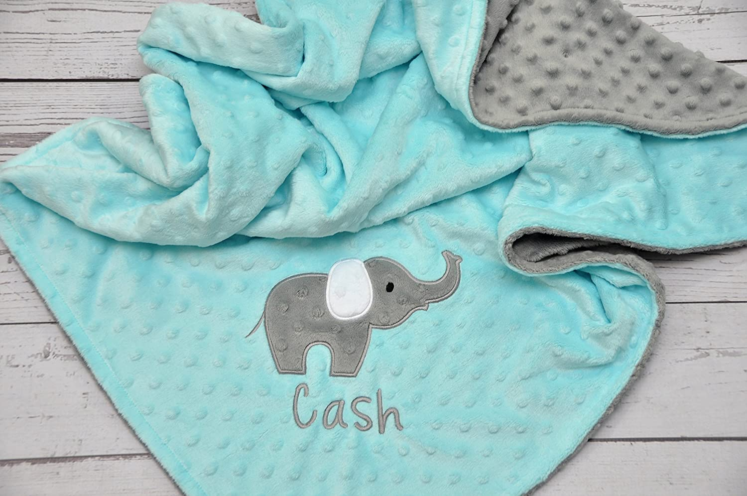 Personalized Elephant Applique Minky Baby Blanket Choose Your Own Minky Color