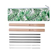 the flow Stainless Steel Ecofriendly Reusable Sip Straw Set: 4 Metal Straws + 2 Handcrafted Wooden Cases + 2 Nylon Cleaning Brushes + 1 Carrying Pouch - Drinking Metal Straw for Travel Outdoor