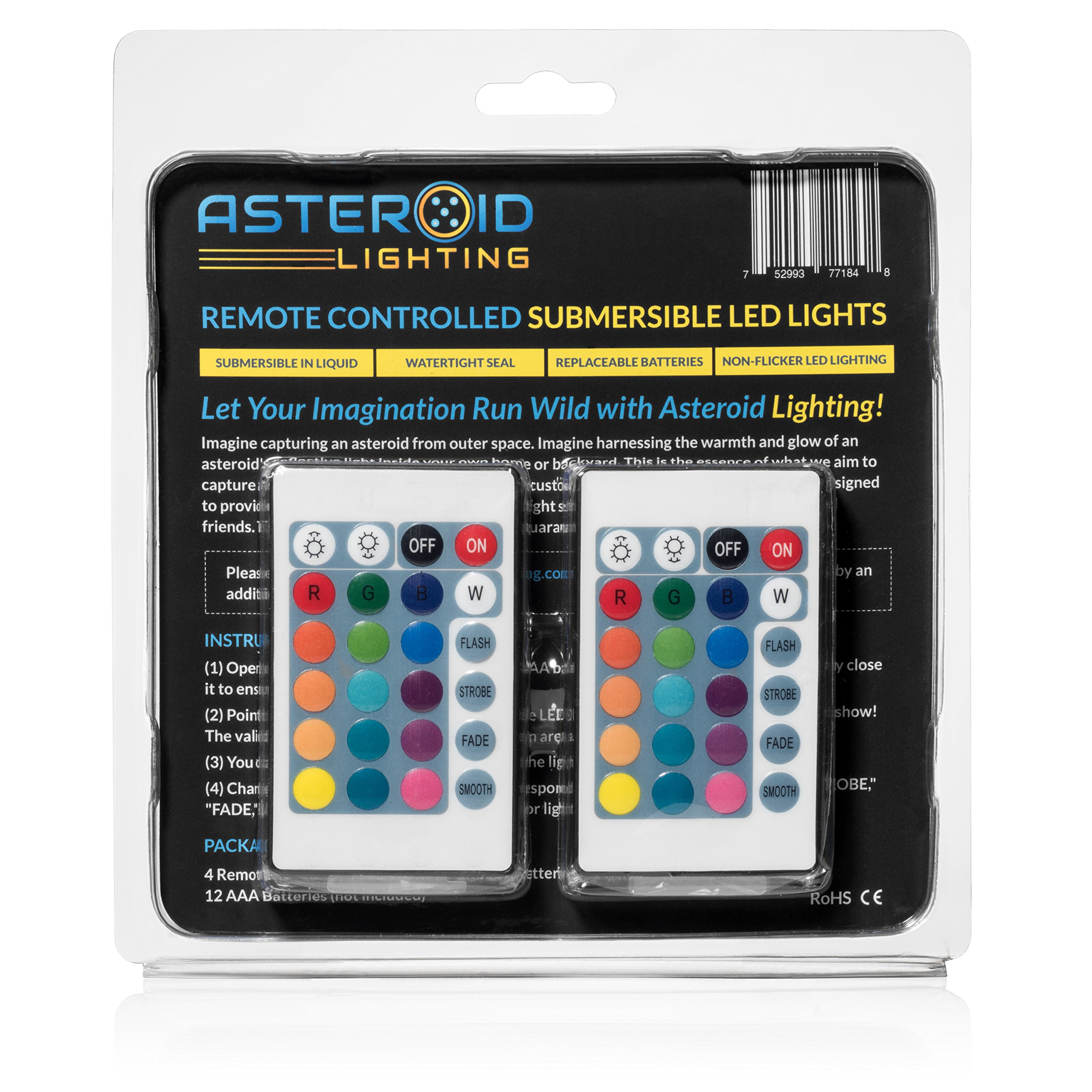 Asteroid Lighting Submersible LED Lights with Remote [4 Pack] ~ Fountain Lights, Pond Lights, Underwater Submersible LED Lights ~ Non-Flicker Multicolor LED for a Smooth Out-of-This-World Light Show!