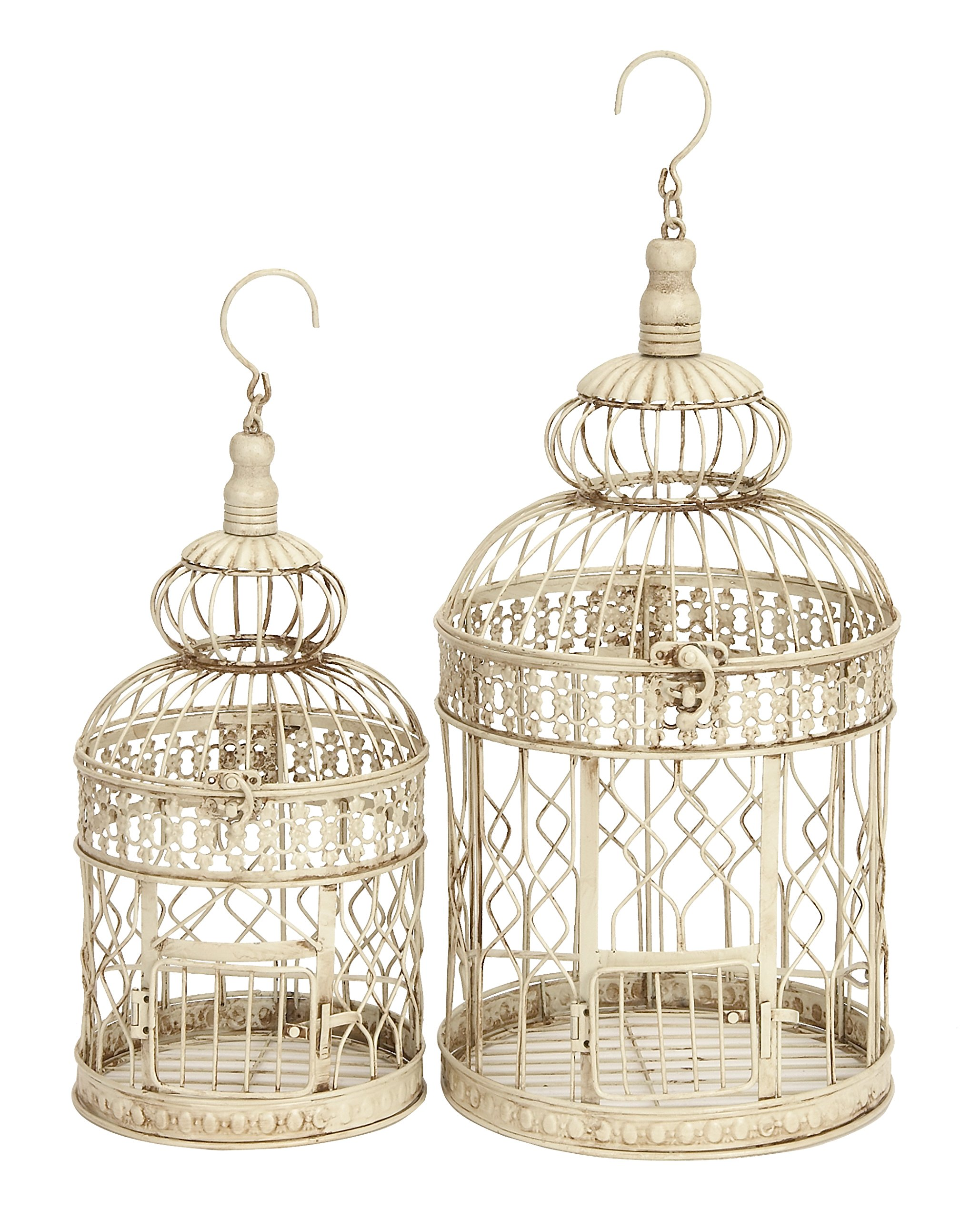 Set of 2 Metal Wall Hanging Bird Cage decor canary parrot decorative outdoor