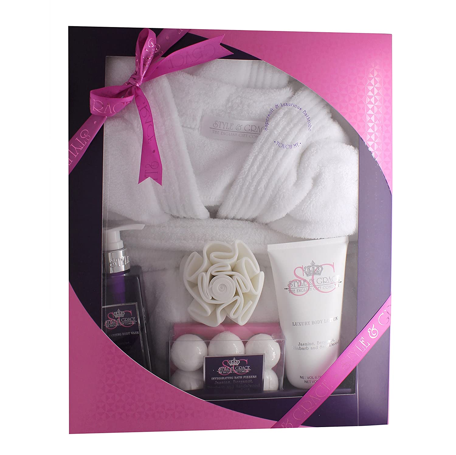 65dbe81053 Ladies Luxury Bathrobe Robe Pamper Gift Set For Her Dressing Gown Xmas Gift  New  Amazon.co.uk  Health   Personal Care