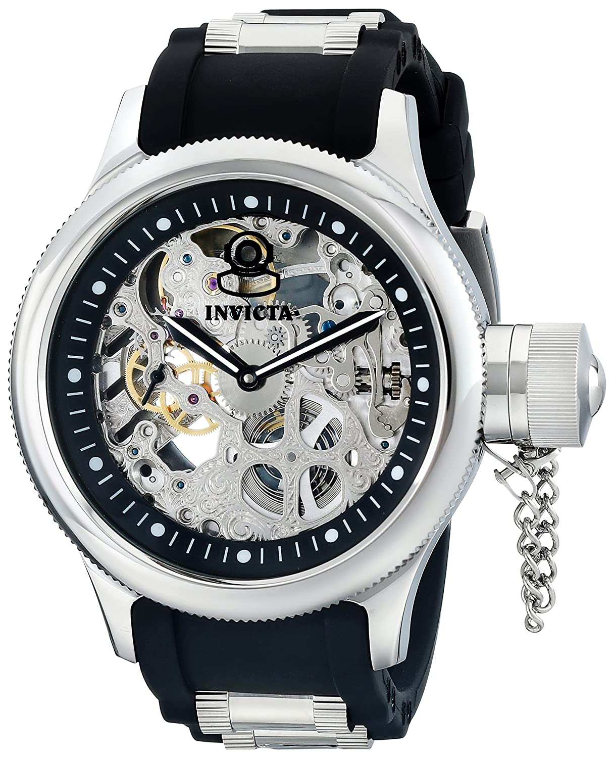 Amazon.com: Invicta Men's 1088 Russian Diver Stainless Steel and Black  Polyurethane Skeleton Watch: Invicta: Watches