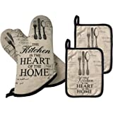 GREVY Quilted Cotton Pot Holders with Pocket Heat Resistant Oven Mitts for Cooking or Baking,7x9,Set of 4 (4 PCS Kitchen Sets