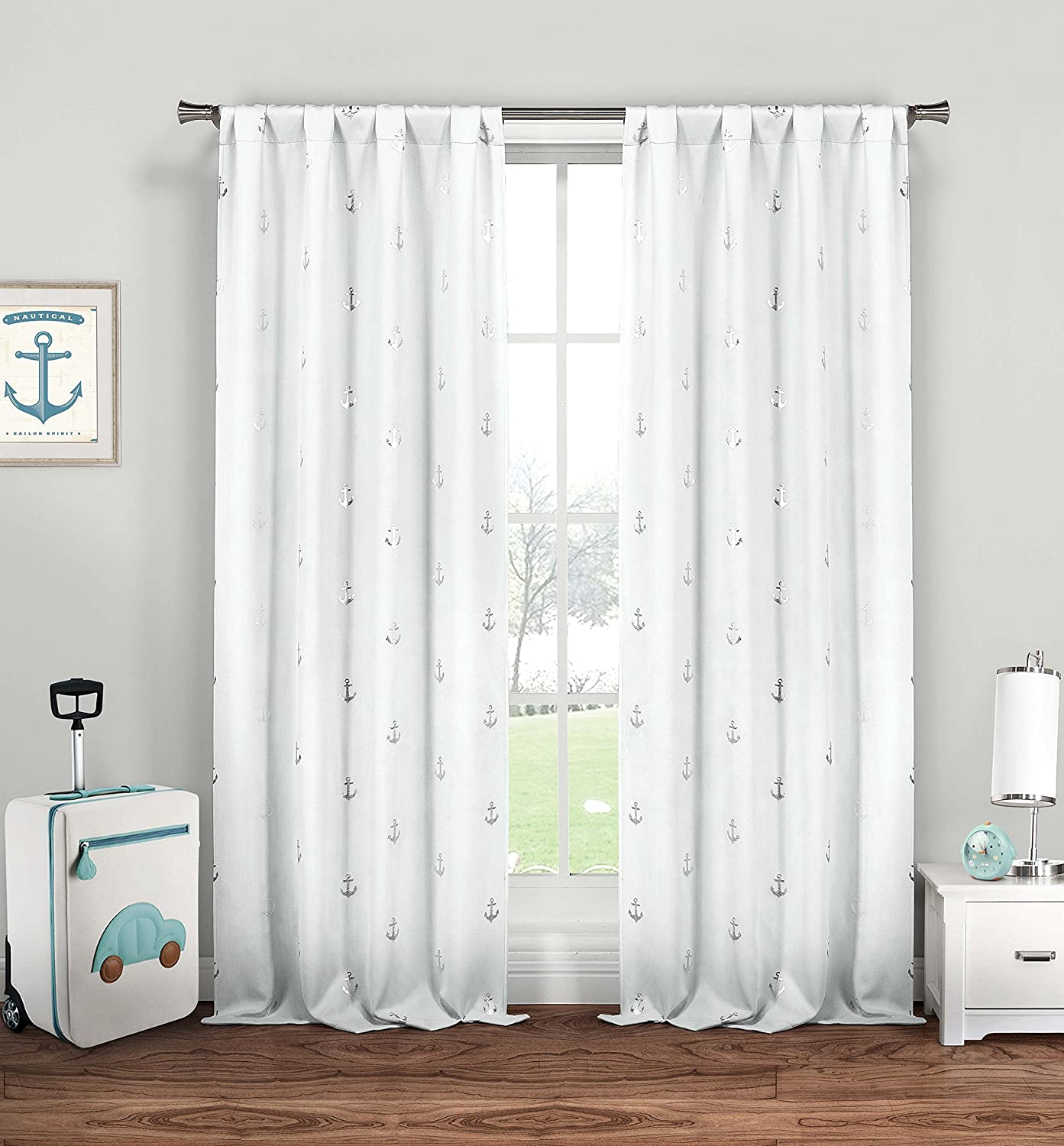 Lala + Bash Ahoy Nautical Blackout Darkening Window Curtain 2 Panel, 37 x 84, White Duck River Textile Premium Quality