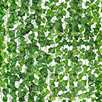 MOSfilian Artificial Ivy Leaf Plants Vine, 12 Strands 87 Feet Artificial Garlands Fake Foliage Flowers Hanging Vine for…