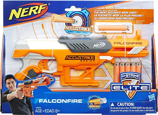 I found this Nerf N-Strike Elite AccuStrike Series FalconFire on sale for  only $9.79, originally $14.99! Not bad. It comes with 6 Elite foam darts.
