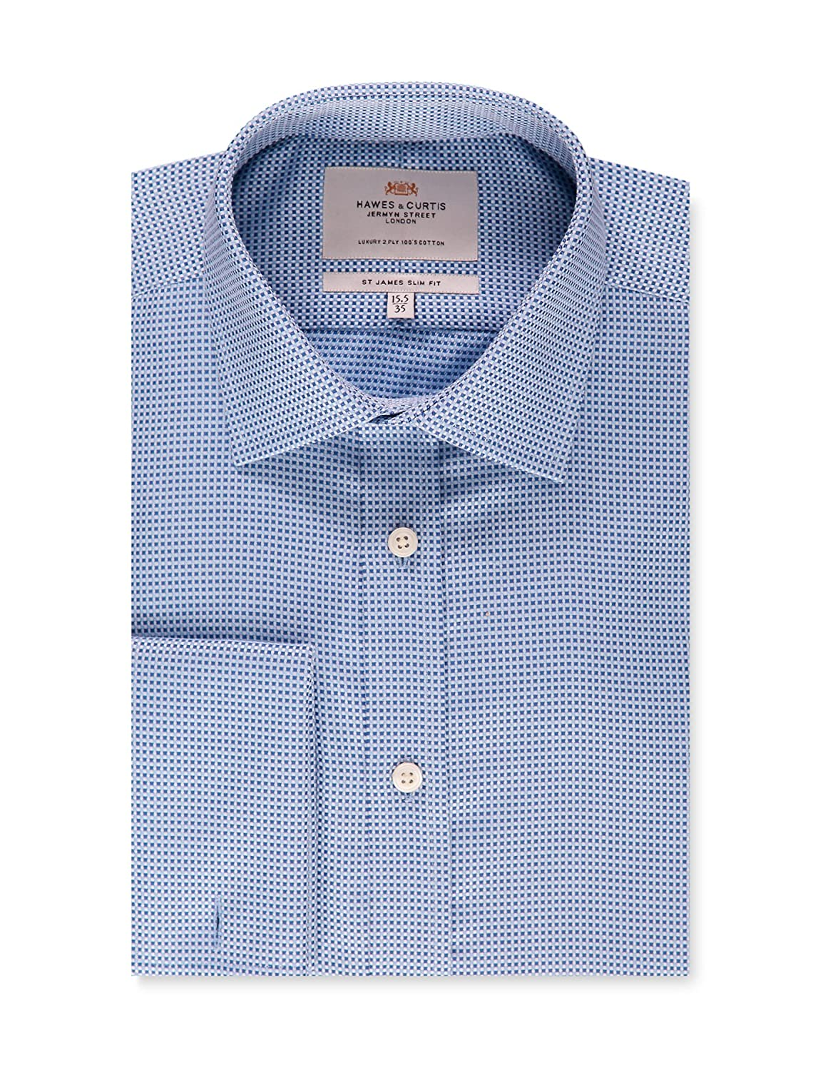 dd00c454 Top1: HAWES & CURTIS Mens Blue Dobby Weave Slim Fit Dress Shirt - French  Cuff
