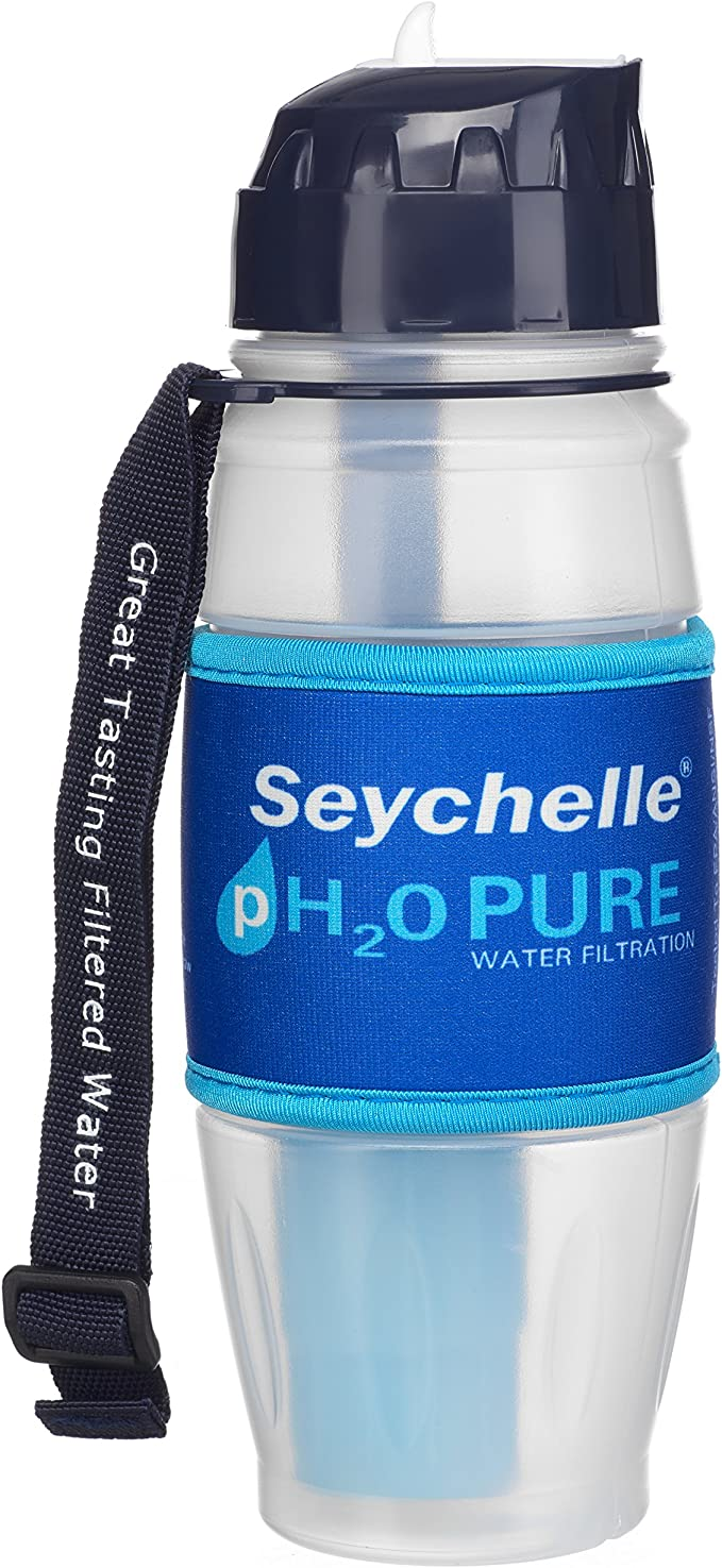 Seychelle pH2O Alkaline Water Filter Bottle - Enhances pH and Filters Water